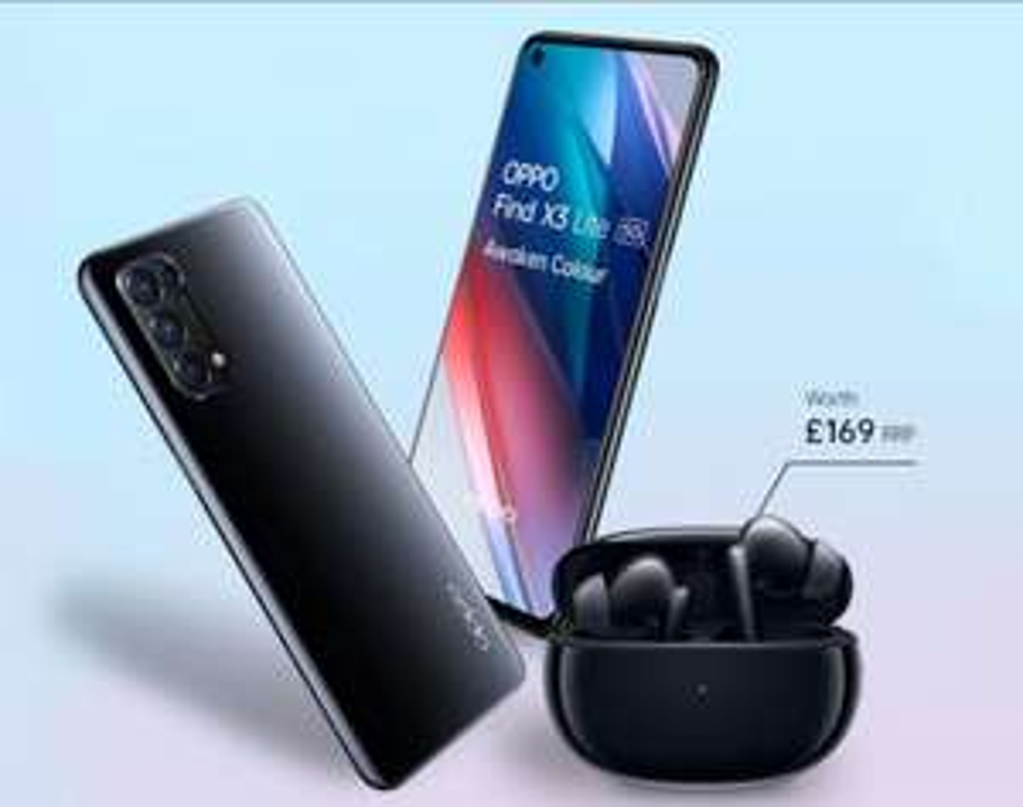 OPPO Find X3 Lite 5G Smartphone + Claim OPPO Enco X Headphones - £329 + £10 Top Up @ Vodafone
