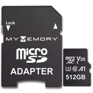 MyMemory 512GB V30 PRO Micro SD Card (SDXC) 4K A1 UHS-1 U3 + Adapter - 100MB/s £48.96 @ MyMemory