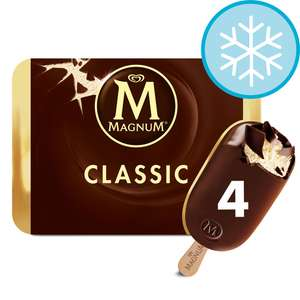Magnum Classic Ice Cream 4 X 110Ml £2 for Clubcard members (min spend / delivery charge applies) @ Tesco