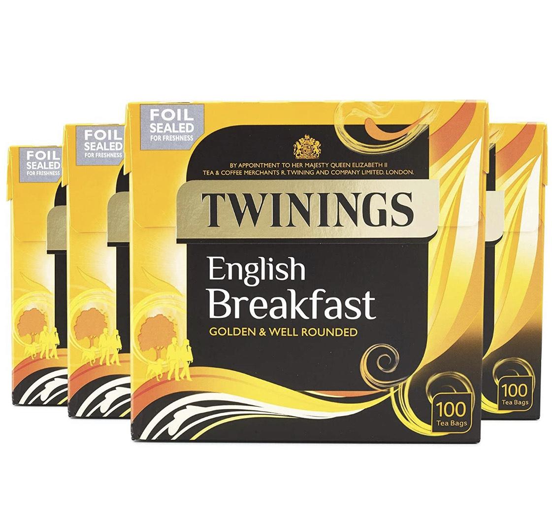 Twinings English Breakfast Tea 400 Tea Bags (Multipack 4 x 100 Bags) - £8.21 (+£4.49 Non Prime) @ Amazon