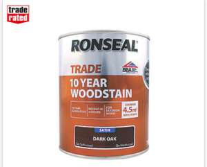 Ronseal Exterior Woodstain Satin Dark Oak 750ml £9.99 Screwfix - free click and collect