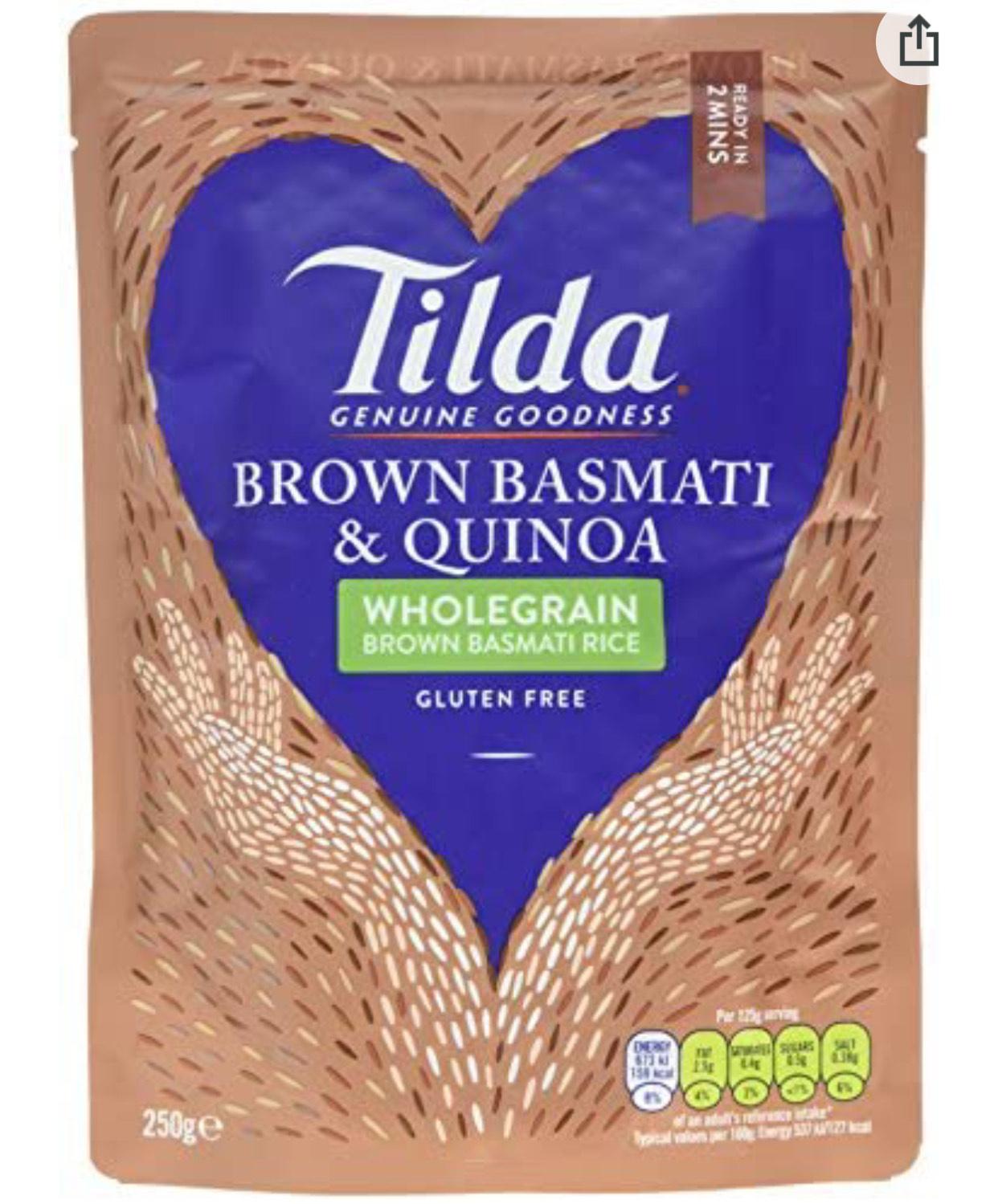Tilda Brown Steamed Basmati Rice and Quinoa, 250 g, Pack of 6 - £3.84 / S&S £3.65 (+£4.49 Non Prime) @ Amazon