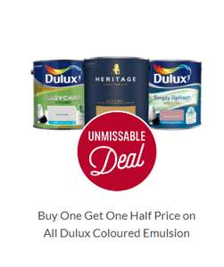 Buy one get one half price Dulux coloured emulsion paints @ Homebase Free click and collect
