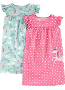 Simple Joys by Carter's Girl's 2-Pack Nightgowns, Pack of 2 (Age 2-3) - £5.25 Prime / +£4.49 non Prime @ Amazon