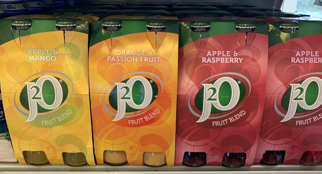 J20 Apple & Mango/Orange & Passionfruit/Apple & Raspberry/Pear & Guava 4 x 275ml Bottles are £2 @ Asda