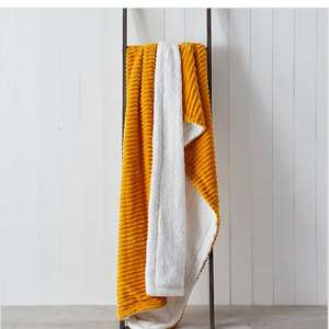 Jumbo Cord Sherpa 130cm x 180cm Throw Ochre/Charcoal £12.60 Free click and collect at Limited Stores @ Dunelm