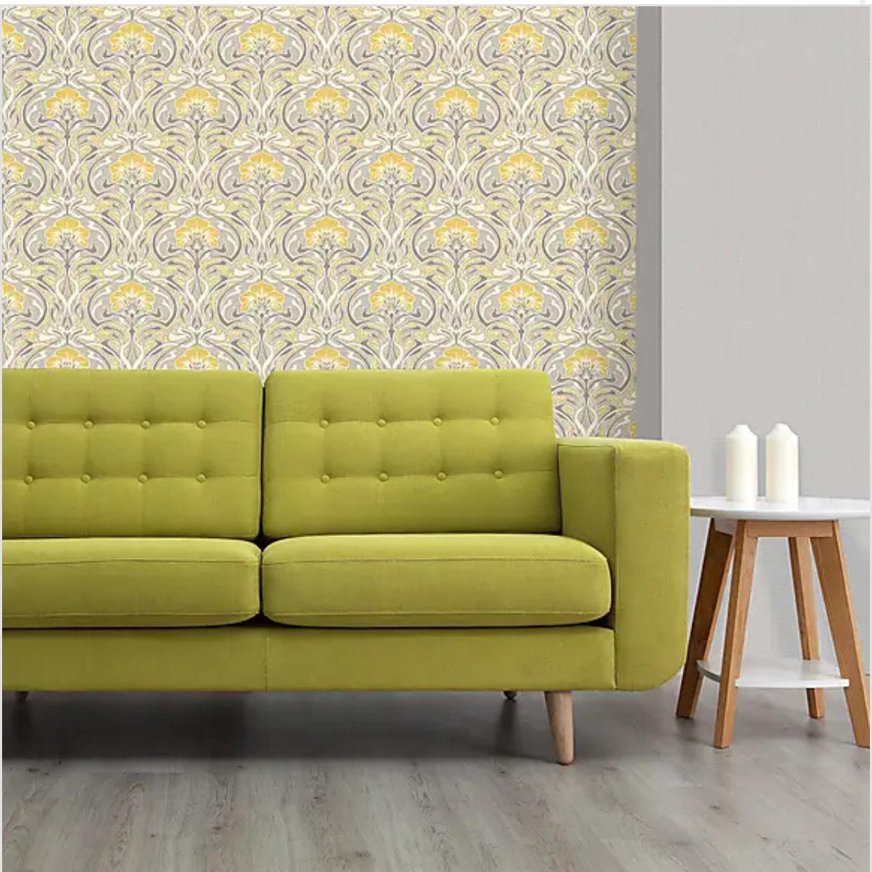 Flora Nouveau Yellow Wallpaper - £6 (Free Click & Collect / Limited Stores) @ Dunelm