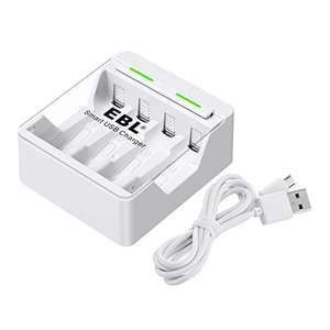 EBL Mini USB Battery Charger for Ni-MH Ni-CD AA AAA Rechargeable Batteries (4 slots) - £4 (+£4.49 NP) - Amazon (Sold by EBL / FBA)