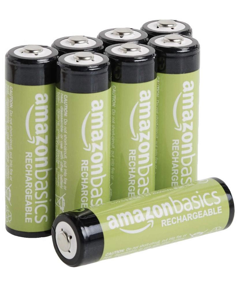 Amazon Basics Rechargeable AA Batteries, 2000mAh - Pack of 8 - £9.99 (+£4.49 non-prime) @ Amazon