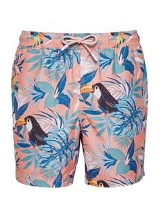 Coral Tropical Bird Printed Recycled Swim Shorts Now £5.70 with code Free delivery @ Burton