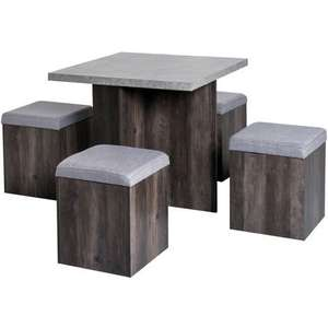 HOMCOM 5 Pieces Dining Table 4 Storage Ottoman Chair Seat Removable Lid £152.99 @ Aosom / manomano