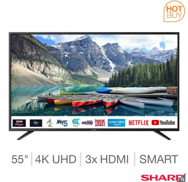 Sharp 4T-C55BJ2KF2FB 55 Inch 4K Ultra HD Smart TV, £299.99 @ Costco