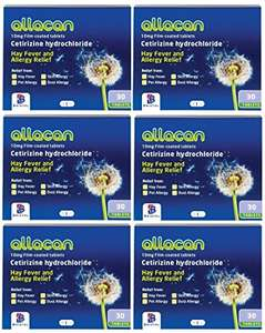 6 Months Supply Allacan Cetirizine Hayfever Allergy Tablets 30 x 6 £3.30 - Dispatched from and sold by Xtremepharmacy on Amazon