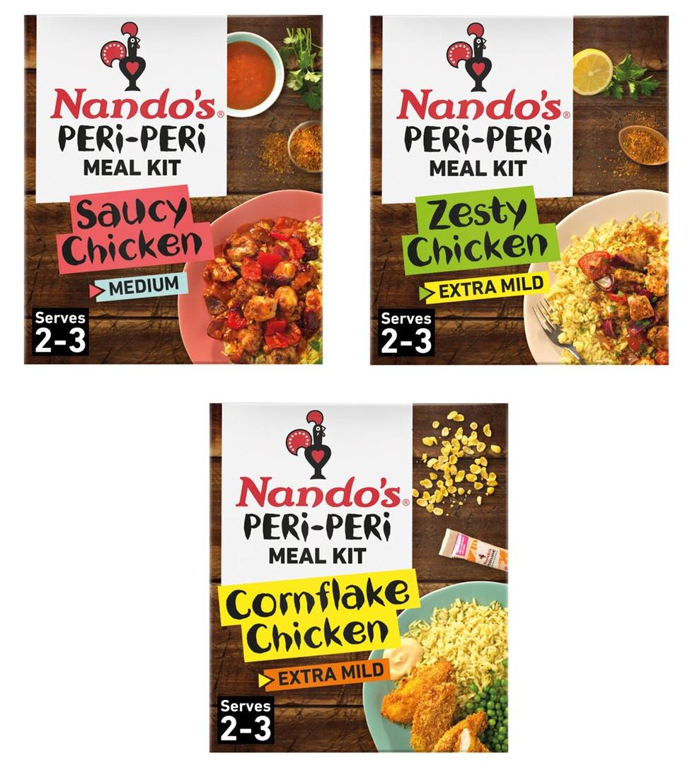 Nando's Peri Peri Saucy Chicken (385g) / Zesty Chicken (385g) / Cornflake Chicken (496g) Meal Kit - £2 each (Clubcard price) @ Tesco