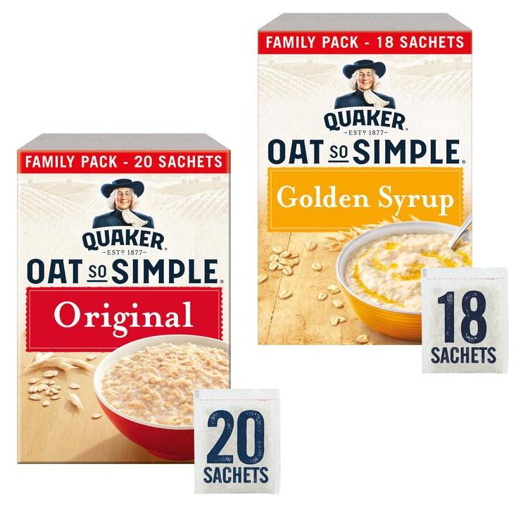 Quaker Oat So Simple Original Porridge Sachet 20x27g or Golden Syrup Porridge Sachet 18X36g - £2 (Clubcard) @ Tesco