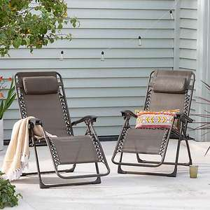 Set of 2 Helsinki Zero Gravity Garden Loungers £45 Free Click & Collect Limited Stores at Dunelm
