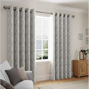 Oscar Dove Grey Eyelet Curtains From £7 + Free Click & Collect at Selected Stores @ Dunelm