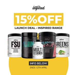 15% off Inspired Nutraceuticals + extra 10% off using code @ Cardiffsportsnutrition + free delivery on orders over £29.95