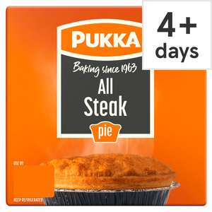 Pukka Pies £1 Clubcard Price at Tesco (Min Basket / Delivery Charge Applies)