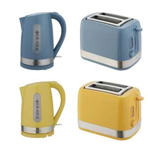 Cookworks Plastic Illuminated Kettle 3000W 1.7L / 2-slice toaster, Blue or Yellow - £9.99 each + Free Click and Collect @ Argos