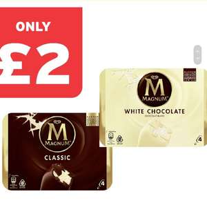 Wall's Magnum Classic/ White Chocolate Ice Cream 4 Pack - £2 @ One Stop Convenience Stores