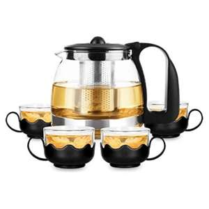 Glass Filter Teapot With 4 Glass Teacups £5 + £3.95 delivery @ Only5pounds
