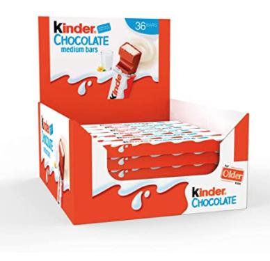 Kinder Chocolate Medium Bar, Box of 36 Bars £7.13 prime / £11.62 non prime @ Amazon
