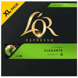 Lor Espresso Lungo Elegante Aluminium Coffee Capsules Intensity 6 20 Capsules 3 for £9.99 + £3 delivery at Approved Food (min basket £22.50)