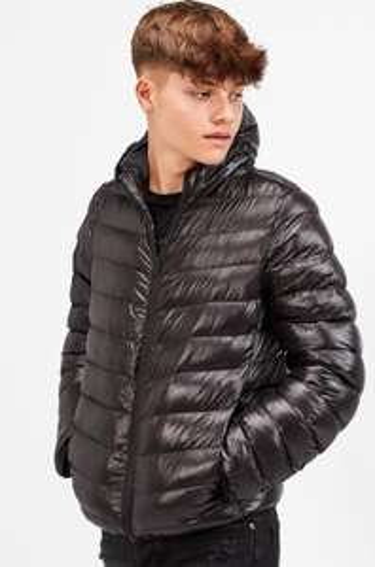Brave Soul Junior High Gloss Shine Puffer Jacket   Black £14.99 + £3.95 del at Footasylum