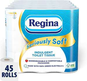 Regina Seriously Soft Toilet Tissue 20/45 Rolls Biodegradable £8.75/£18.54 possibly £5.69/£12.05 with s&s (+£4.49 Non Prime) @ amazon