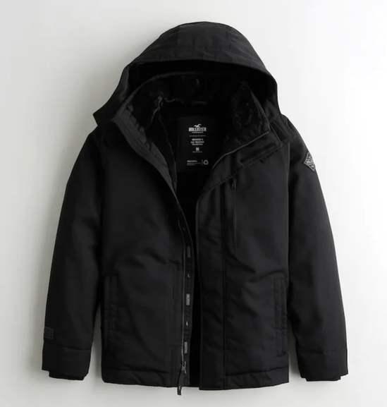 Men's Faux Fur Lined Jacket (Black or Navy XS - XL) - £34.99 & Free Delivery via App @ Hollister