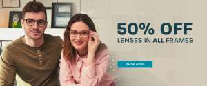 50% off all lenses at Glasses Direct