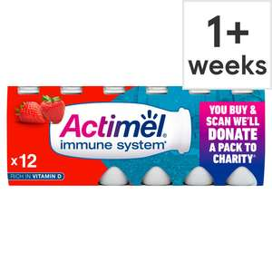 Danone Actimel Strawberry Drink 12X100g £2.50 with clubcard @ Tesco