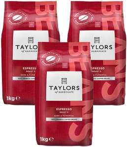 Taylors of Harrogate Espresso Coffee Beans 1kg (Pack of 3) £20.53 at Amazon