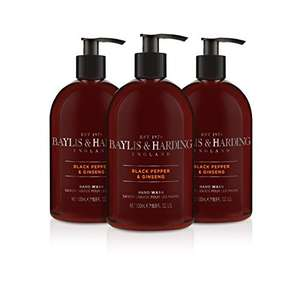 Baylis & Harding Black Pepper and Ginseng Hand Wash for Men, 500 ml, Pack of 3 £3.99 / £3.64 S&S (Prime) + £4.49 (non Prime) at Amazon