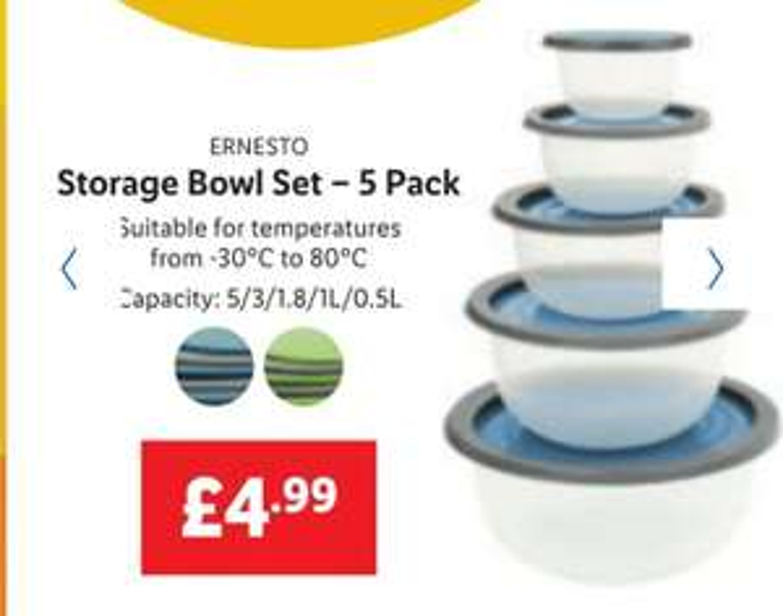 Storage Bowl Set – 5 Pack £4.99 @ Lidl