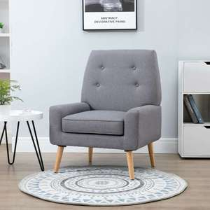 Nordic Single Cushion Padded Chair Wooden Armchair - £80.74 Delivered Using Code @ eBay / 2011homcom