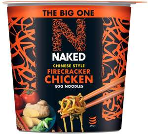 NAKED Noodle Chinese Style Firecracker Chicken Egg Noodles Big Pot, 104g (Pack of 4) - £2.93 (+£4.49 Non Prime) @ Amazon