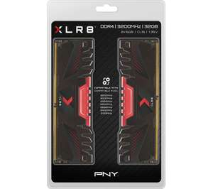 PNY XLR8 DDR4 3200MHz 32GB CL16 PC RAM - 16 GB x 2 - £120 delivered using code @ Currys PC World