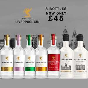 3x 70cl Bottles of Liverpool Gin or Liverpool Vodka For £45 Delivered ( UK Mainland ) - 6 Gins To Choose From @ The Drop Store