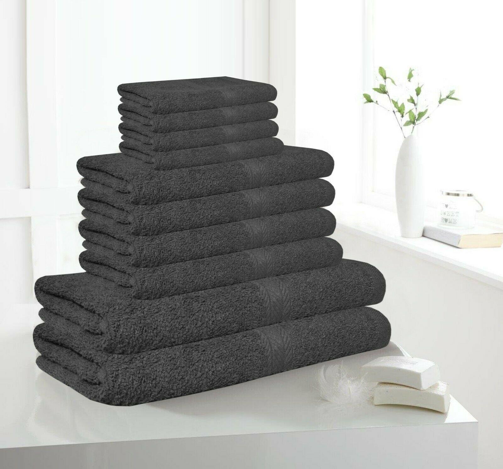 10 Piece Bath Towel Set Soft Egyptian Cotton - Grey £9.99 delivered @ premiumclothing1 / ebay