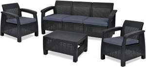 Keter Corfu Outdoor 5 Seater Rattan Sofa Furniture Set with Accent Table, Graphite with Grey - £299.99 @ Amazon