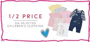 Boots 1/2 Price On Selected Children's Clothing from £1.50 - Double Parenting Club Advantage Card Points (£1.50 Collection) @ Boots