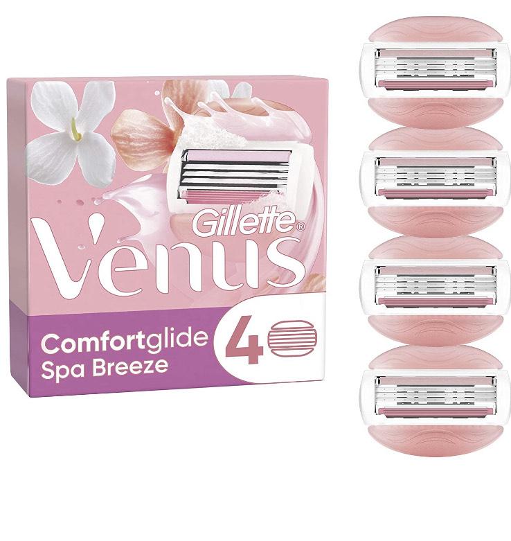 Gillette Venus ComfortGlide Spa Breeze Razor Blades for Women, Pack of 4 Refill Blades - £5 Amazon Prime / £9.49 Non Prime