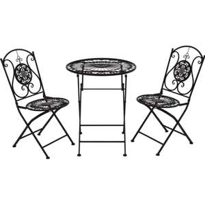 Balcony Living tarnished metal black three-piece folding bistro set (two chairs and a table) for £79.99 delivered @ TK Maxx