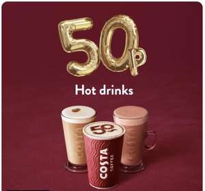 All Hot drinks for just 50p Each April 13th-15th (Selected Stores) @ Costa Coffee Shop for mobile app users