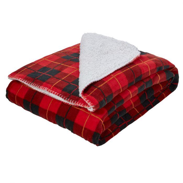 Dreamscene 100% polyester large tartan Sherpa flannel fleece throw blanket red check (150 x 180cm) for £12.95 delivered @ OnlineHomeShop