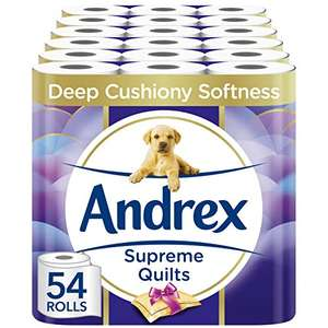 54 Toilet Rolls Andrex Supreme Quilted £23.63 / £15.36 via first subscribe & Save order @ Amazon