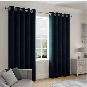 Stellar Thermal Navy Eyelet Curtains From £12.50 (Free Collection/ £3.95 delivery) @ Dunelm