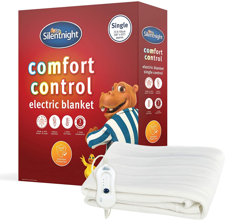 Silentnight Comfort Control Electric Blanket + 3 year warranty - Single - £16.90 prime /+ £4.49 non prime @ Amazon